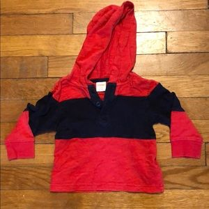 Red and royal blue hooded pullover